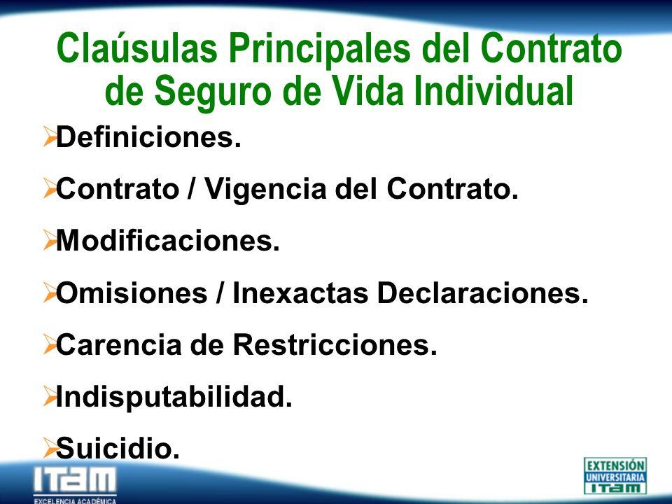 Seguro Personas Claúsulas Principales del Contrato de Seguro de Vida Individual Definiciones. Contrato / Vigencia del Contrato. Modificaciones. Omisio
