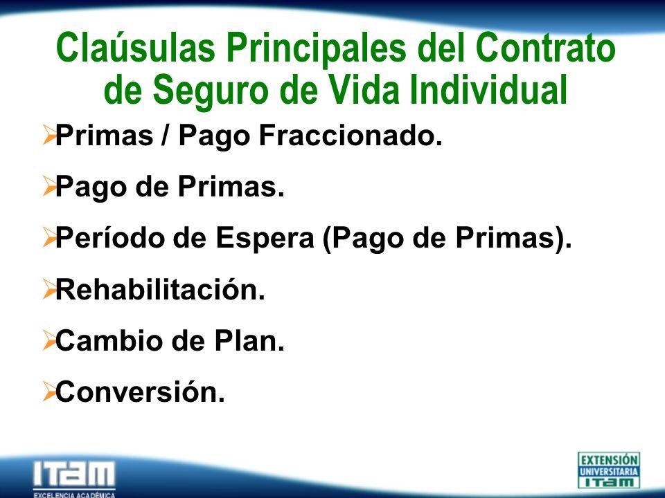 Seguro Personas Claúsulas Principales del Contrato de Seguro de Vida Individual Primas / Pago Fraccionado. Pago de Primas. Período de Espera (Pago de