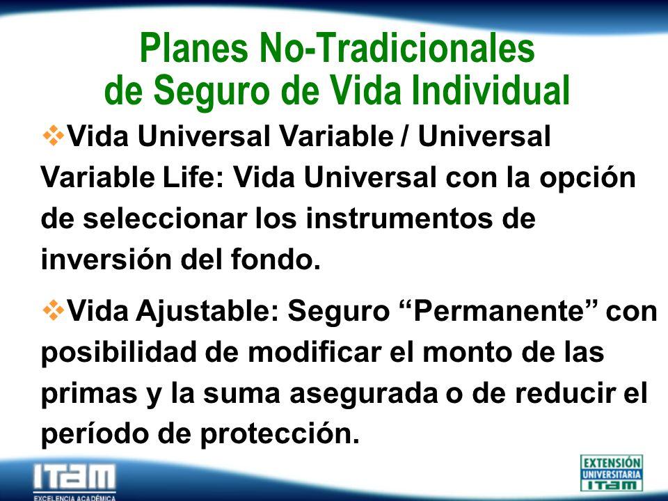 Seguro Personas Planes No-Tradicionales de Seguro de Vida Individual Vida Universal Variable / Universal Variable Life: Vida Universal con la opción d
