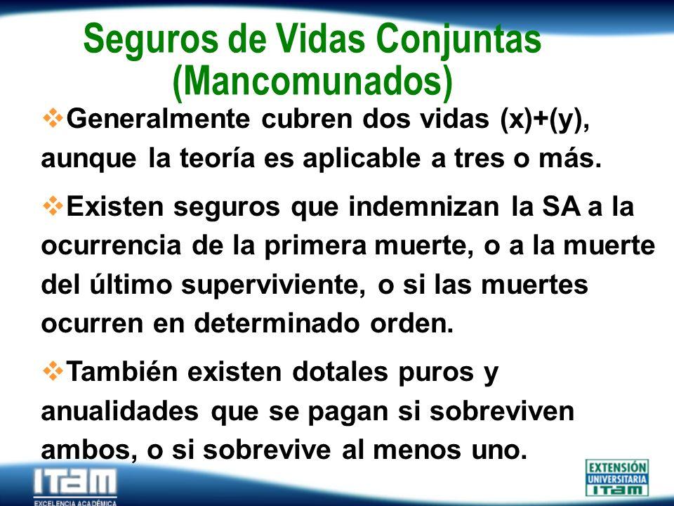 Seguro Personas Seguros de Vidas Conjuntas (Mancomunados) Generalmente cubren dos vidas (x)+(y), aunque la teoría es aplicable a tres o más. Existen s