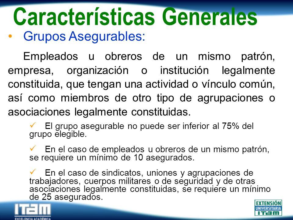 Seguro Personas Grupos Asegurables: Empleados u obreros de un mismo patrón, empresa, organización o institución legalmente constituida, que tengan una