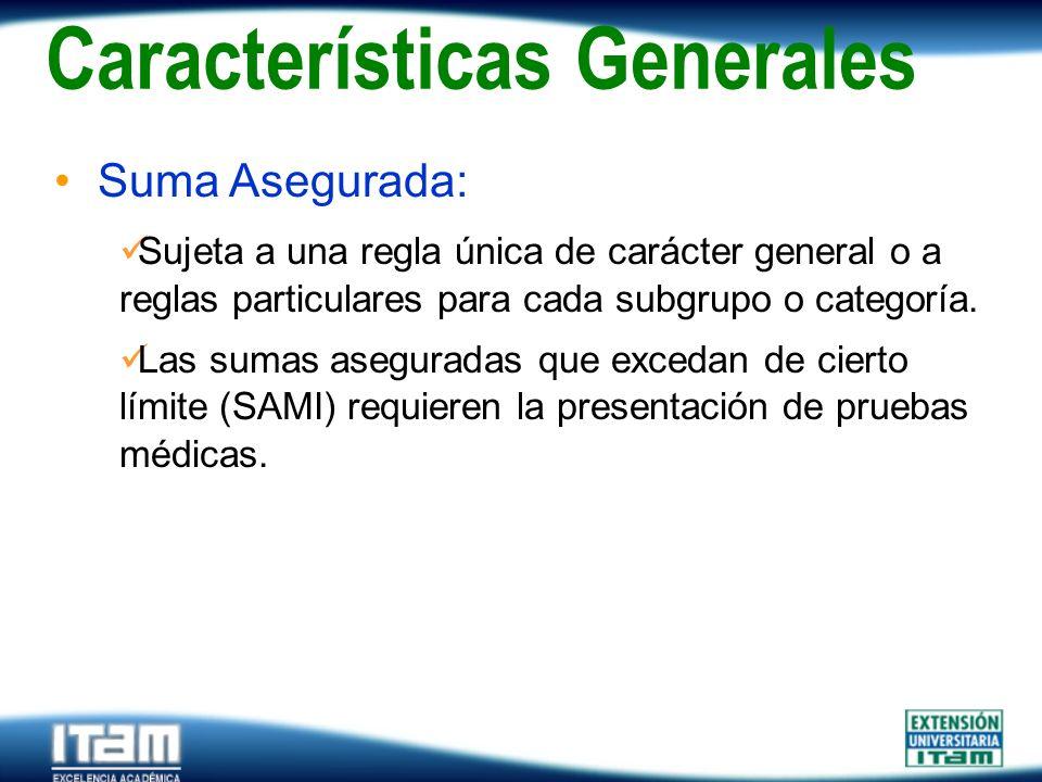 Seguro Personas Suma Asegurada: Sujeta a una regla única de carácter general o a reglas particulares para cada subgrupo o categoría. Las sumas asegura