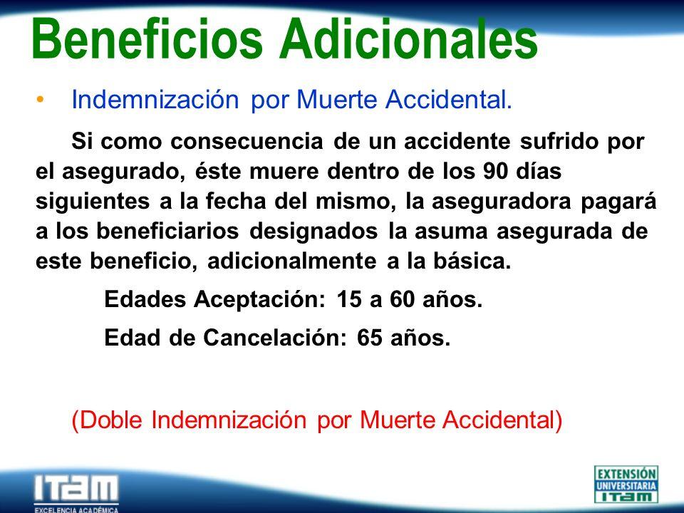 Seguro Personas Indemnización por Muerte Accidental. Si como consecuencia de un accidente sufrido por el asegurado, éste muere dentro de los 90 días s