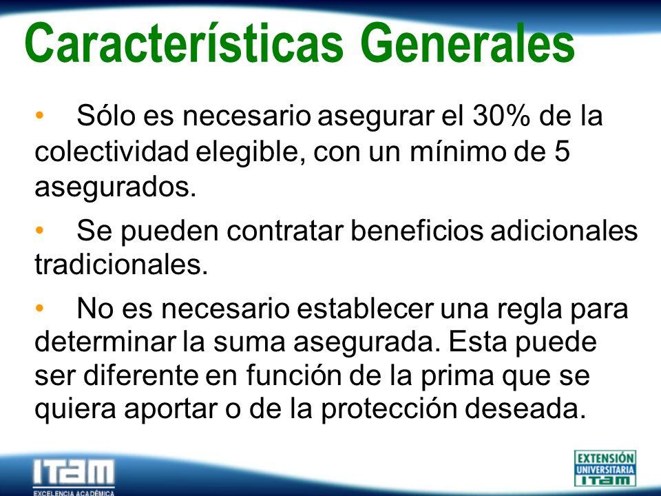 Seguro Personas Características Generales Sólo es necesario asegurar el 30% de la colectividad elegible, con un mínimo de 5 asegurados. Se pueden cont
