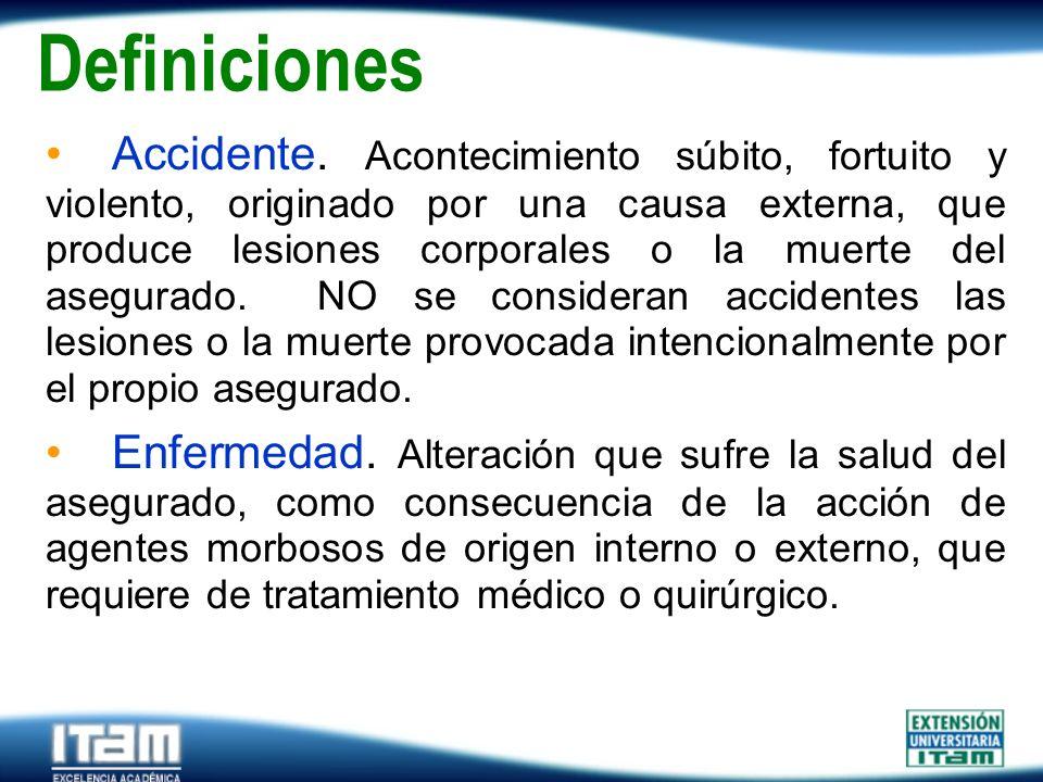 Seguro Personas Definiciones Accidente. Acontecimiento súbito, fortuito y violento, originado por una causa externa, que produce lesiones corporales o