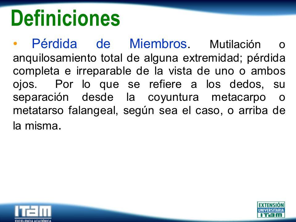 Seguro Personas Definiciones Pérdida de Miembros. Mutilación o anquilosamiento total de alguna extremidad; pérdida completa e irreparable de la vista