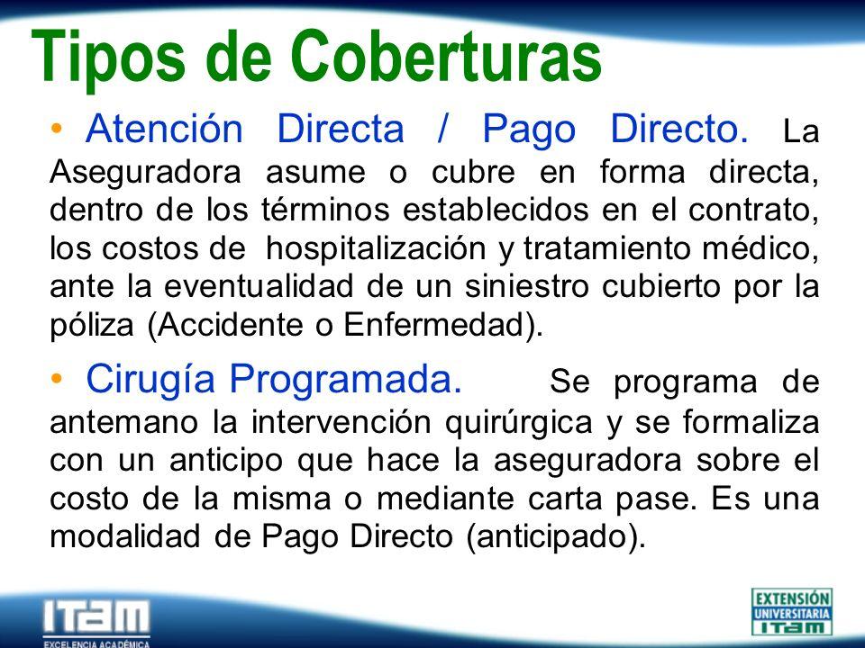 Seguro Personas Tipos de Coberturas Atención Directa / Pago Directo. La Aseguradora asume o cubre en forma directa, dentro de los términos establecido