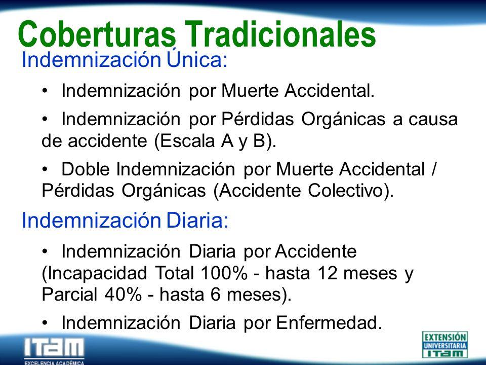 Seguro Personas Coberturas Tradicionales Indemnización Única: Indemnización por Muerte Accidental. Indemnización por Pérdidas Orgánicas a causa de acc