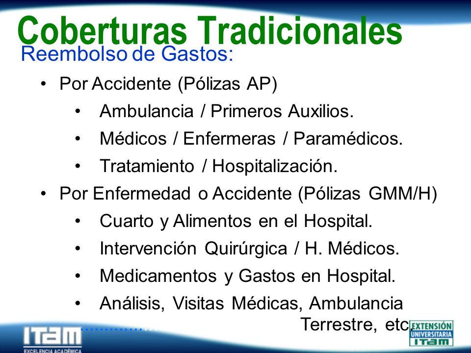 Seguro Personas Coberturas Tradicionales Reembolso de Gastos: Por Accidente (Pólizas AP) Ambulancia / Primeros Auxilios. Médicos / Enfermeras / Paramé