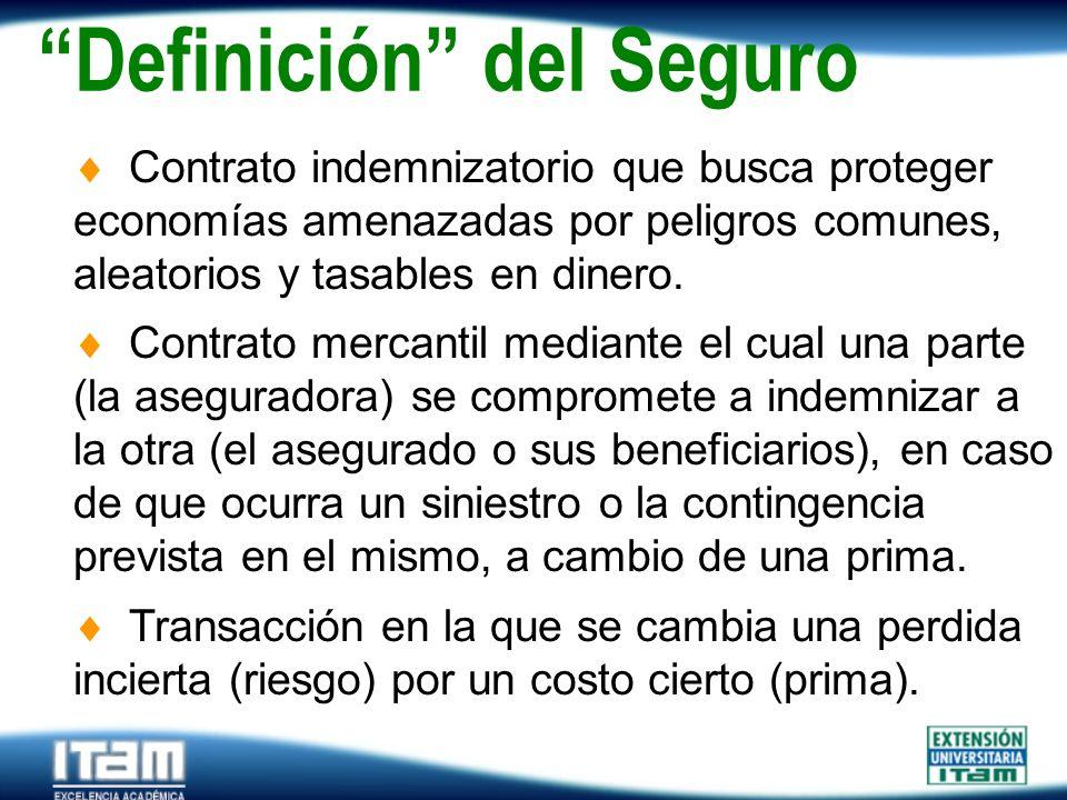 Seguro Personas Definición del Seguro Contrato indemnizatorio que busca proteger economías amenazadas por peligros comunes, aleatorios y tasables en d