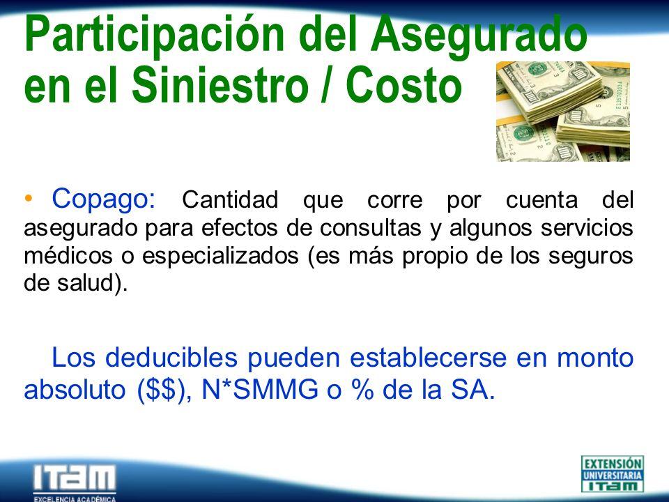 Seguro Personas Participación del Asegurado en el Siniestro / Costo Copago: Cantidad que corre por cuenta del asegurado para efectos de consultas y al