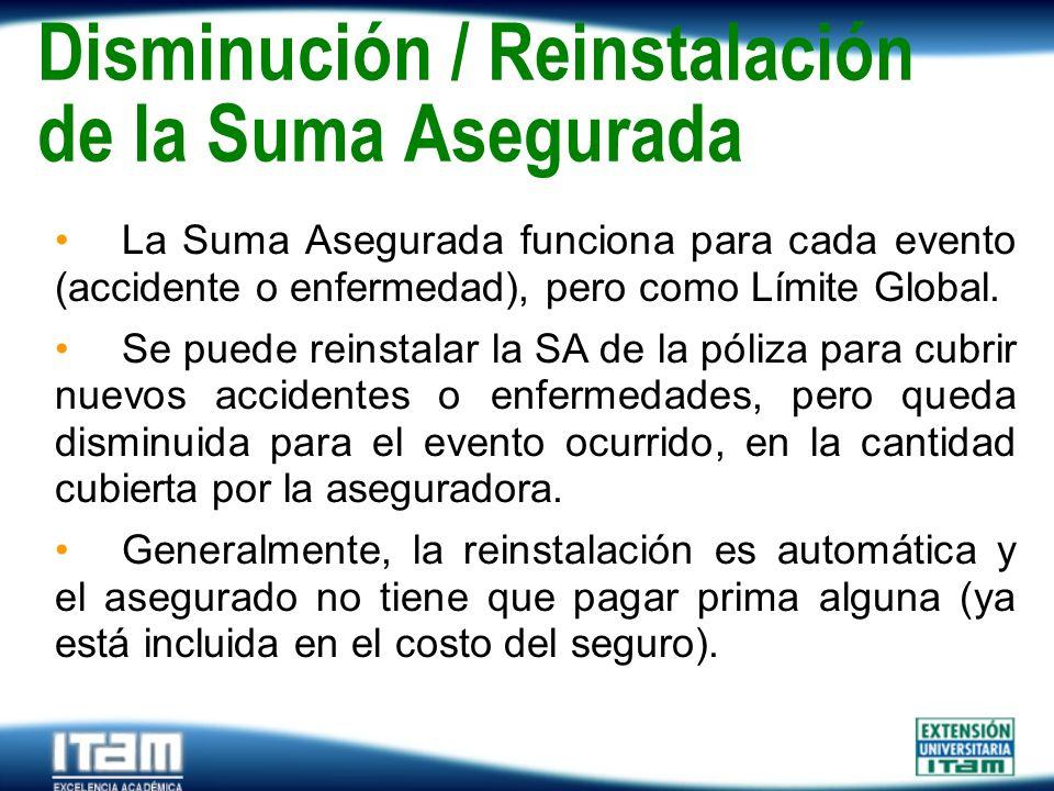 Seguro Personas Disminución / Reinstalación de la Suma Asegurada La Suma Asegurada funciona para cada evento (accidente o enfermedad), pero como Límit