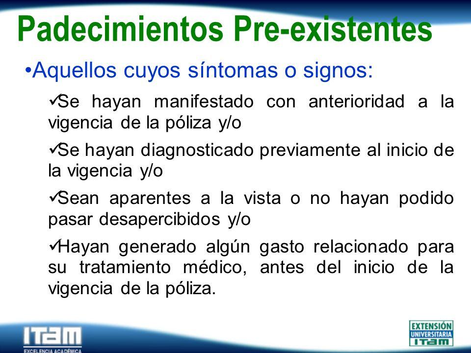 Seguro Personas Padecimientos Pre-existentes Aquellos cuyos síntomas o signos: Se hayan manifestado con anterioridad a la vigencia de la póliza y/o Se