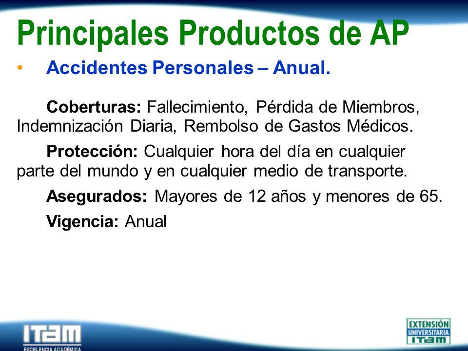Seguro Personas Principales Productos de AP Accidentes Personales – Anual. Coberturas: Fallecimiento, Pérdida de Miembros, Indemnización Diaria, Rembo