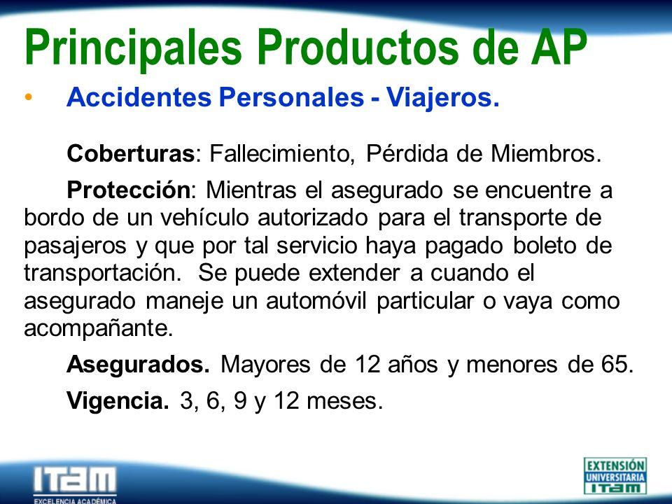 Seguro Personas Principales Productos de AP Accidentes Personales - Viajeros. Coberturas: Fallecimiento, Pérdida de Miembros. Protección: Mientras el