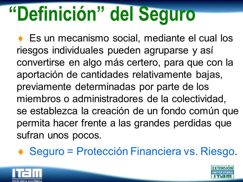 Seguro Personas Definición del Seguro Es un mecanismo social, mediante el cual los riesgos individuales pueden agruparse y así convertirse en algo más