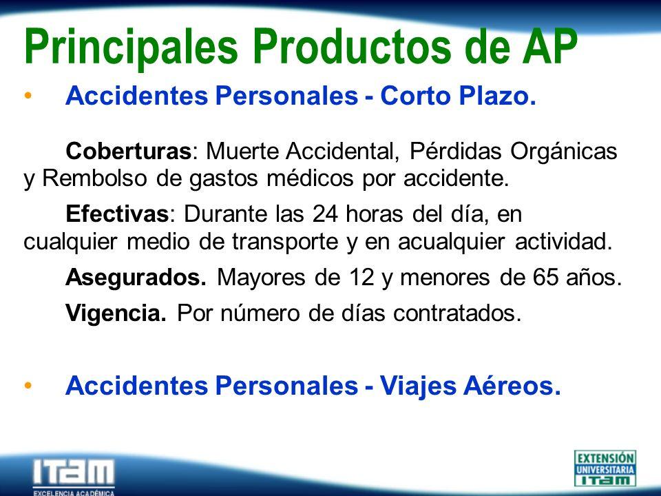 Seguro Personas Principales Productos de AP Accidentes Personales - Corto Plazo. Coberturas: Muerte Accidental, Pérdidas Orgánicas y Rembolso de gasto