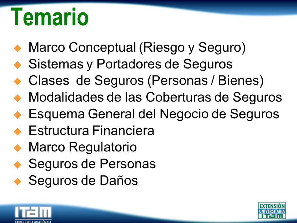 Seguro Personas Temario Marco Conceptual (Riesgo y Seguro) Sistemas y Portadores de Seguros Clases de Seguros (Personas / Bienes) Modalidades de las C