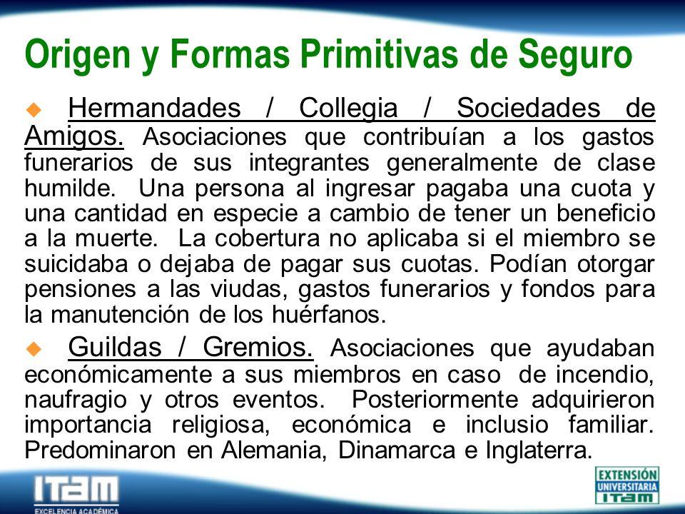 Seguro Personas Origen y Formas Primitivas de Seguro Hermandades / Collegia / Sociedades de Amigos. Asociaciones que contribuían a los gastos funerari