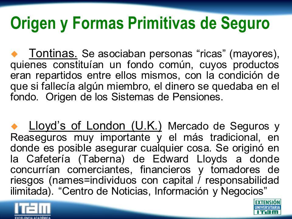 Seguro Personas Origen y Formas Primitivas de Seguro Tontinas. Se asociaban personas ricas (mayores), quienes constituían un fondo común, cuyos produc