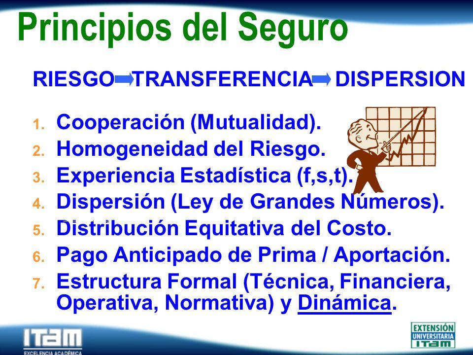 Seguro Personas Principios del Seguro RIESGO TRANSFERENCIA DISPERSION 1. Cooperación (Mutualidad). 2. Homogeneidad del Riesgo. 3. Experiencia Estadíst