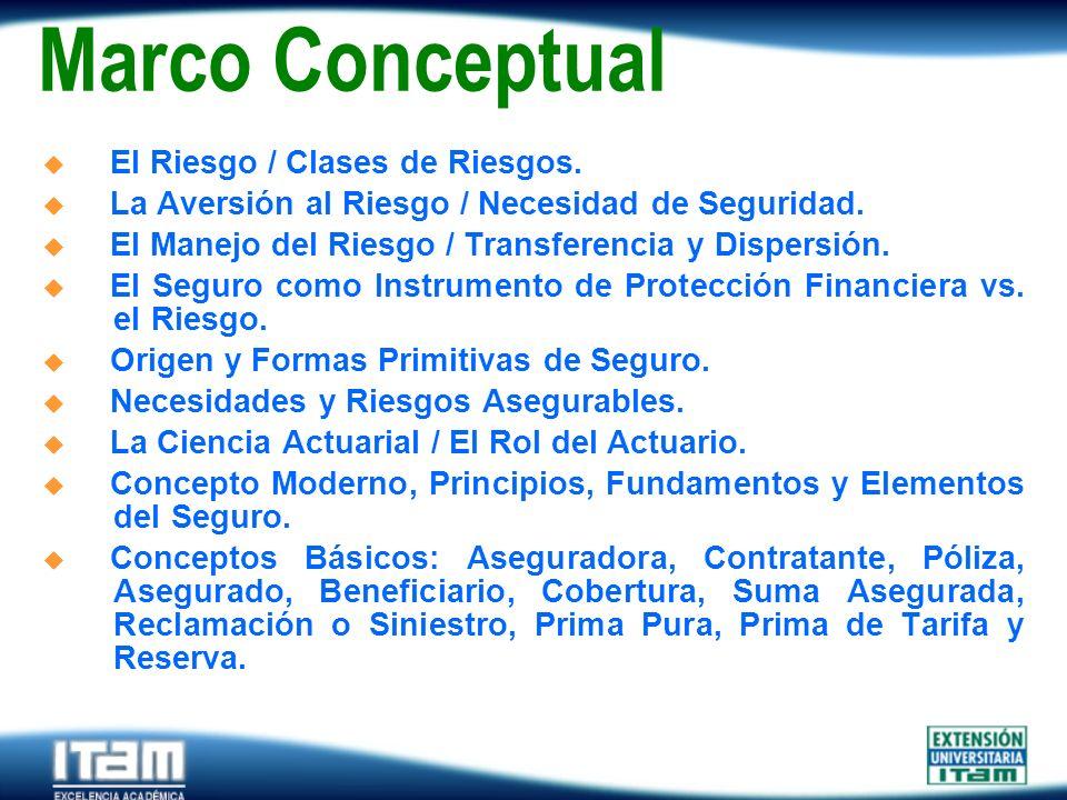 Seguro Personas Marco Conceptual El Riesgo / Clases de Riesgos. La Aversión al Riesgo / Necesidad de Seguridad. El Manejo del Riesgo / Transferencia y