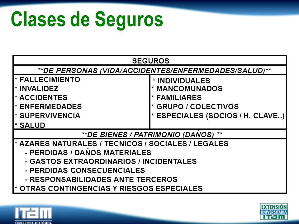 Seguro Personas Clases de Seguros SEGUROS * AZARES NATURALES / TECNICOS / SOCIALES / LEGALES - PERDIDAS / DAÑOS MATERIALES - GASTOS EXTRAORDINARIOS /