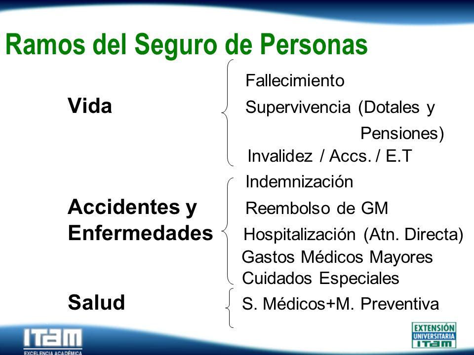 Seguro Personas Ramos del Seguro de Personas Fallecimiento Vida Supervivencia (Dotales y Pensiones) Invalidez / Accs. / E.T Indemnización Accidentes y