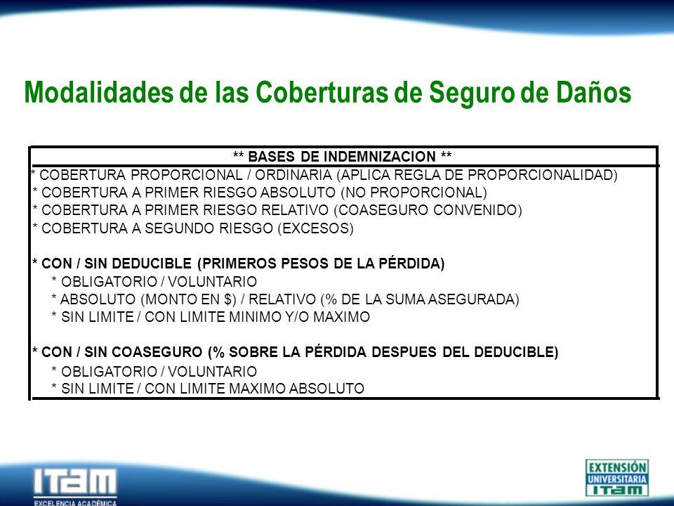 Seguro Personas Modalidades de las Coberturas de Seguro de Daños * COBERTURA PROPORCIONAL / ORDINARIA (APLICA REGLA DE PROPORCIONALIDAD) * COBERTURA A