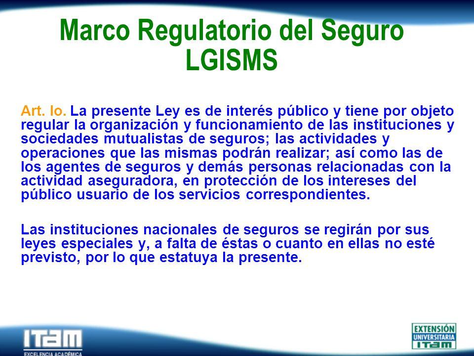 Seguro Personas Marco Regulatorio del Seguro LGISMS Art. lo. La presente Ley es de interés público y tiene por objeto regular la organización y funcio