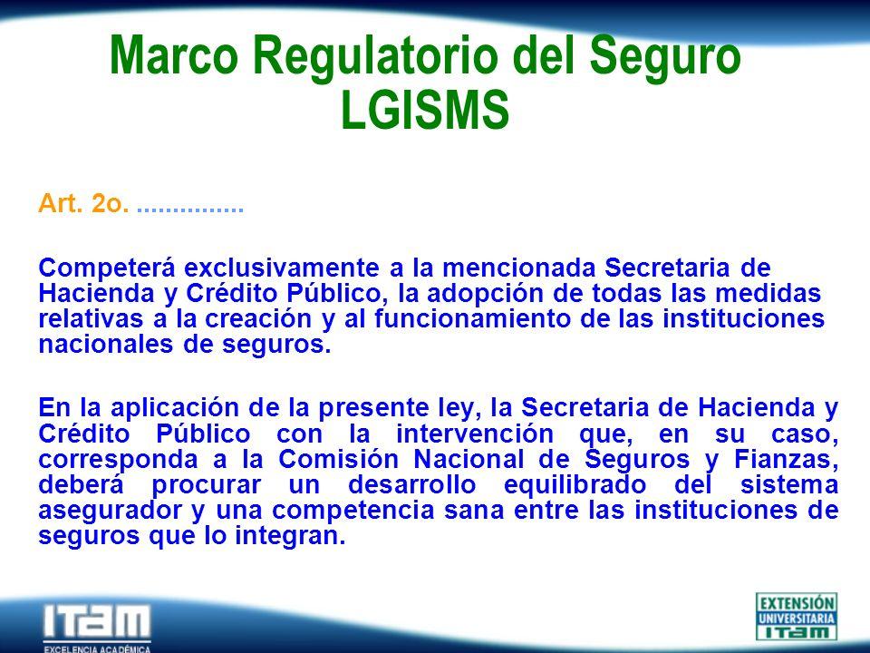 Seguro Personas Marco Regulatorio del Seguro LGISMS Art. 2o................ Competerá exclusivamente a la mencionada Secretaria de Hacienda y Crédito