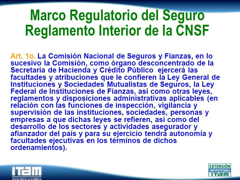 Seguro Personas Marco Regulatorio del Seguro Reglamento Interior de la CNSF Art. 1o. La Comisión Nacional de Seguros y Fianzas, en lo sucesivo la Comi