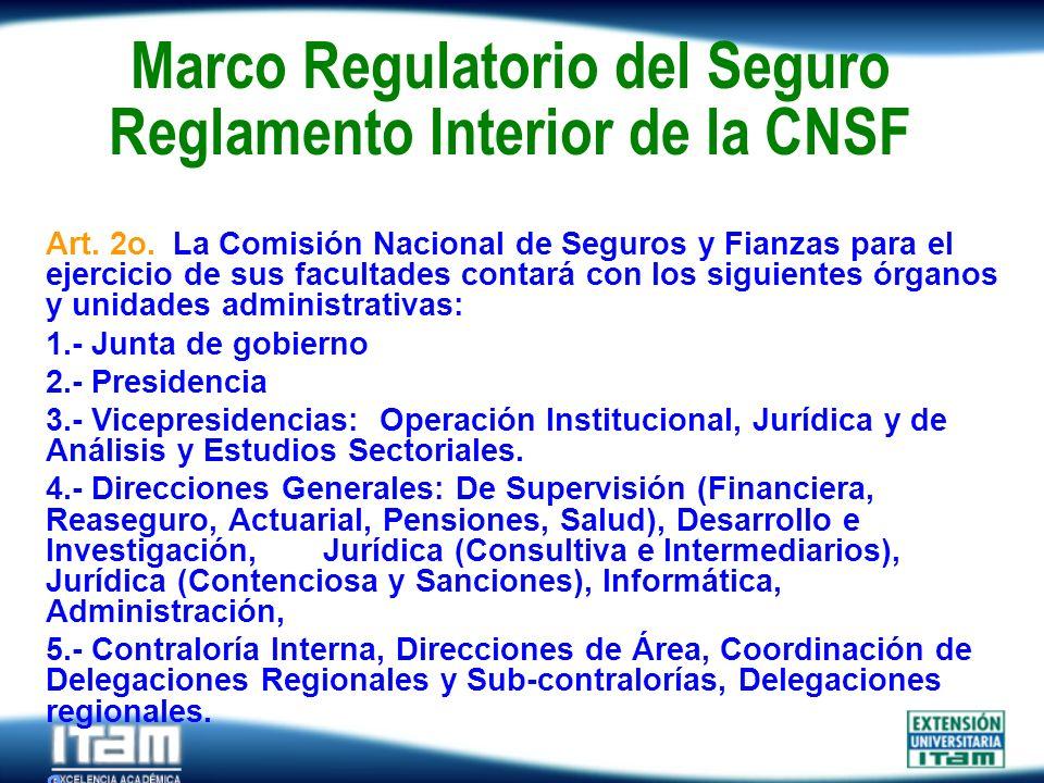 Seguro Personas Marco Regulatorio del Seguro Reglamento Interior de la CNSF Art. 2o. La Comisión Nacional de Seguros y Fianzas para el ejercicio de su