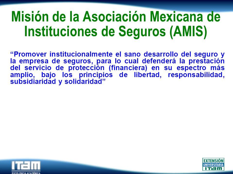 Seguro Personas Misión de la Asociación Mexicana de Instituciones de Seguros (AMIS) Promover institucionalmente el sano desarrollo del seguro y la emp