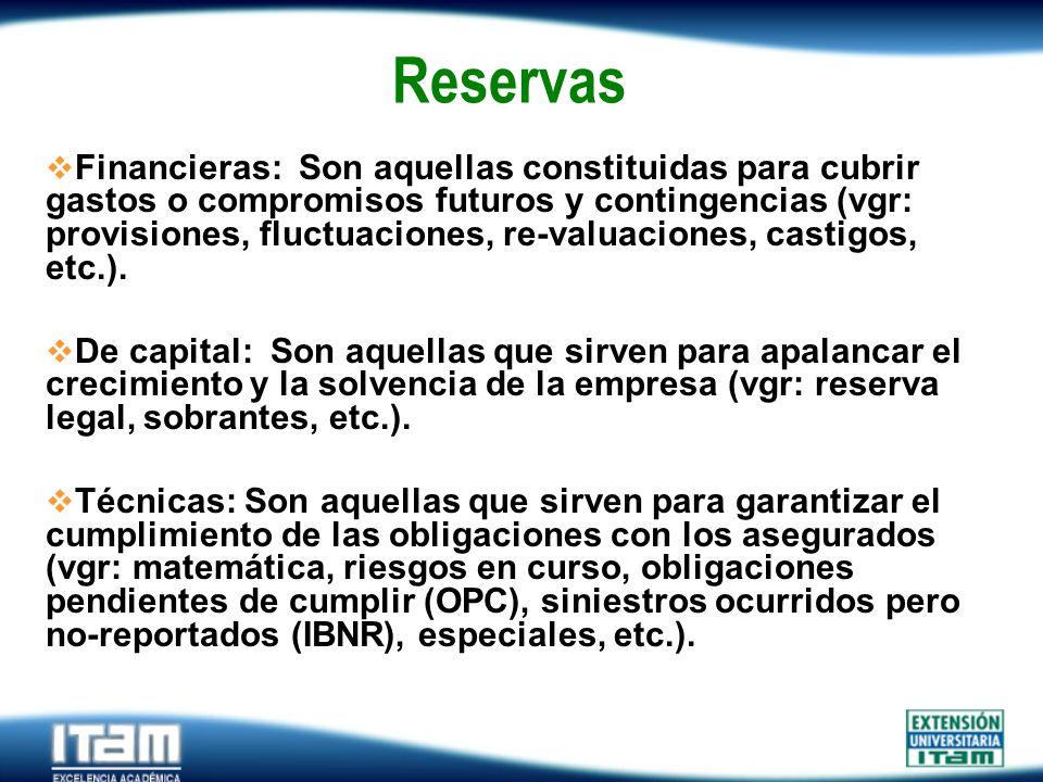 Seguro Personas Reservas Financieras: Son aquellas constituidas para cubrir gastos o compromisos futuros y contingencias (vgr: provisiones, fluctuacio
