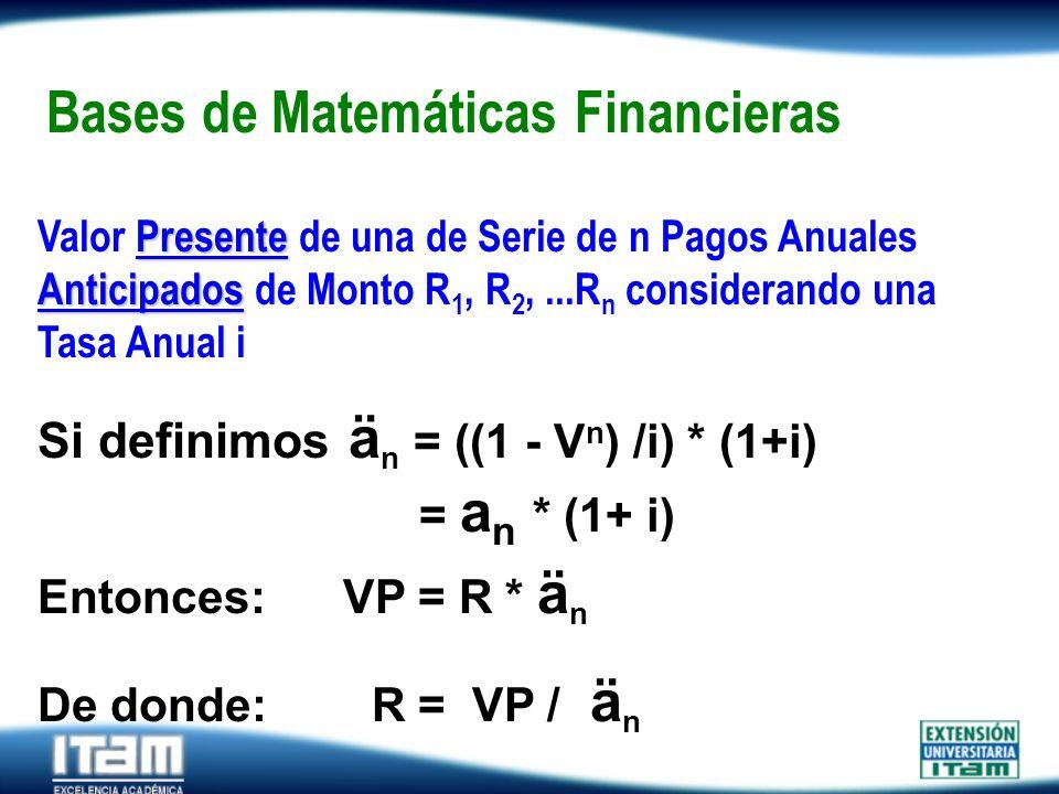 Seguro Personas Bases de Matemáticas Financieras Presente Anticipados Valor Presente de una de Serie de n Pagos Anuales Anticipados de Monto R 1, R 2,