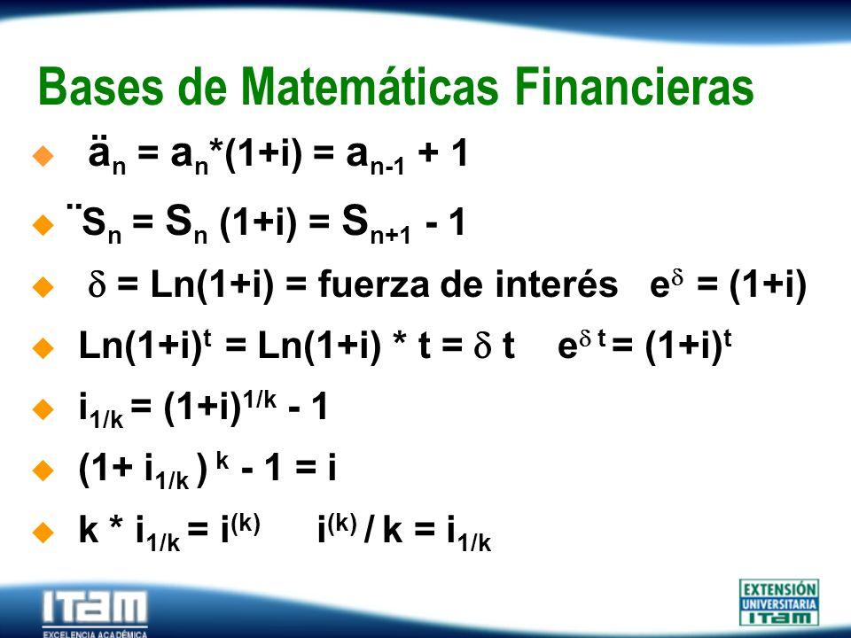 Seguro Personas Bases de Matemáticas Financieras ä n = a n *(1+i) = a n-1 + 1 ¨ S n = S n (1+i) = S n+1 - 1 = Ln(1+i) = fuerza de interés e = (1+i) Ln