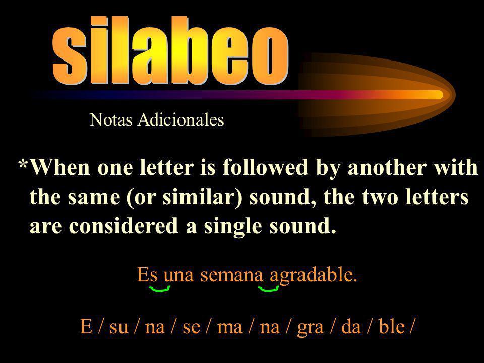 Notas Adicionales * La sílaba cruza las fronteras de la palabra Los diptongos y triptongos no solo se producen dentro de una palabra.