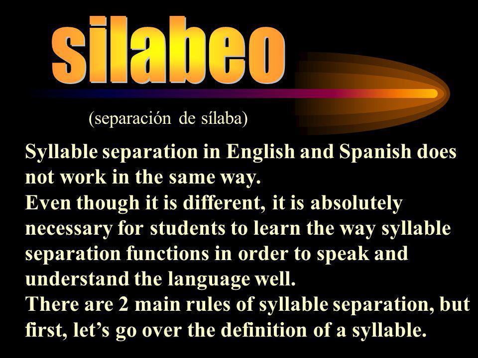 Notas Adicionales * Syllables can cross the borders of words.