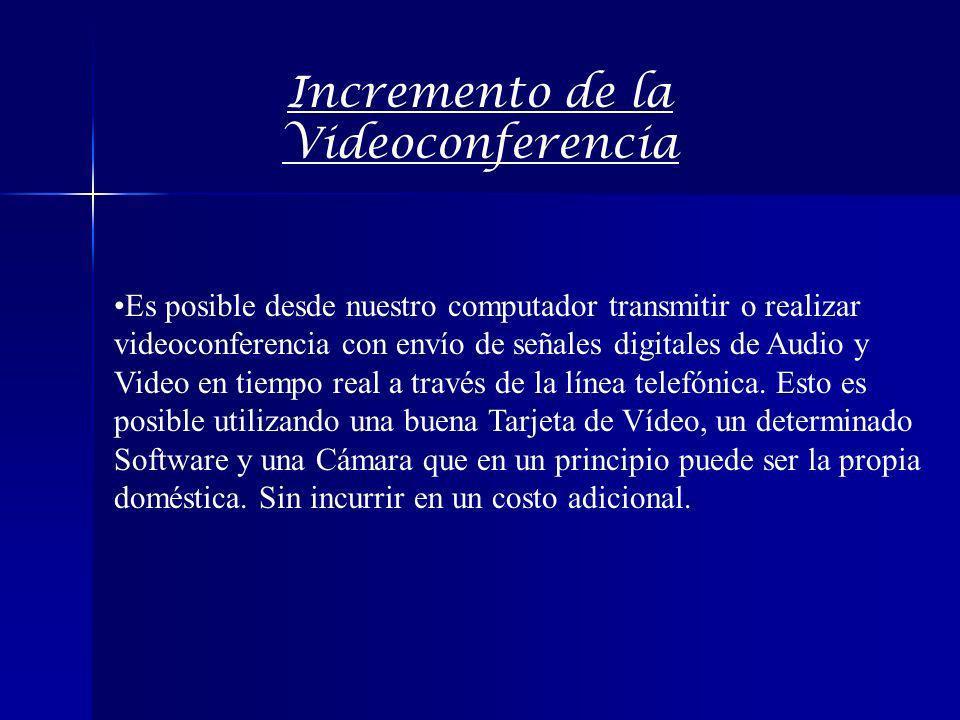 Incremento de la Videoconferencia Es posible desde nuestro computador transmitir o realizar videoconferencia con envío de señales digitales de Audio y