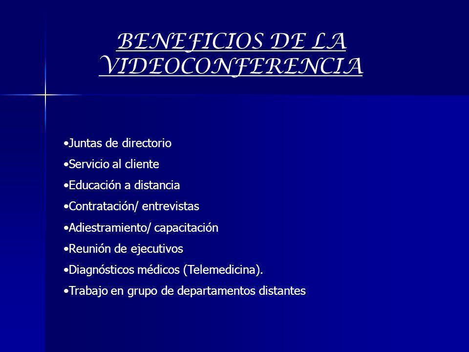 BENEFICIOS DE LA VIDEOCONFERENCIA Juntas de directorio Servicio al cliente Educación a distancia Contratación/ entrevistas Adiestramiento/ capacitació
