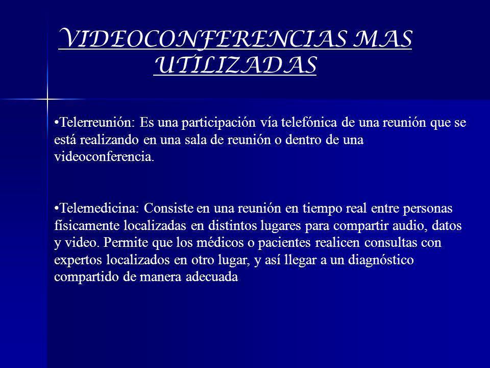 VIDEOCONFERENCIAS MAS UTILIZADAS Telerreunión: Es una participación vía telefónica de una reunión que se está realizando en una sala de reunión o dent