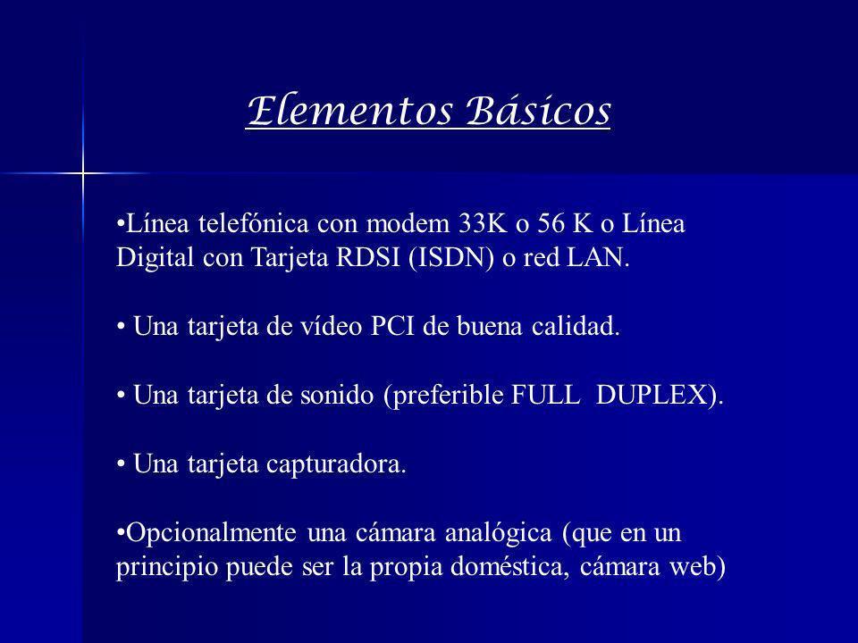 Elementos Básicos Línea telefónica con modem 33K o 56 K o Línea Digital con Tarjeta RDSI (ISDN) o red LAN. Una tarjeta de vídeo PCI de buena calidad.
