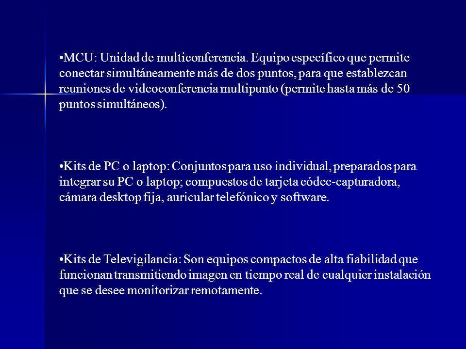 MCU: Unidad de multiconferencia. Equipo específico que permite conectar simultáneamente más de dos puntos, para que establezcan reuniones de videoconf