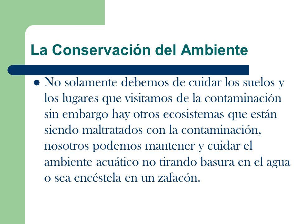 La Conservación del Ambiente No solamente debemos de cuidar los suelos y los lugares que visitamos de la contaminación sin embargo hay otros ecosistemas que están siendo maltratados con la contaminación, nosotros podemos mantener y cuidar el ambiente acuático no tirando basura en el agua o sea encéstela en un zafacón.