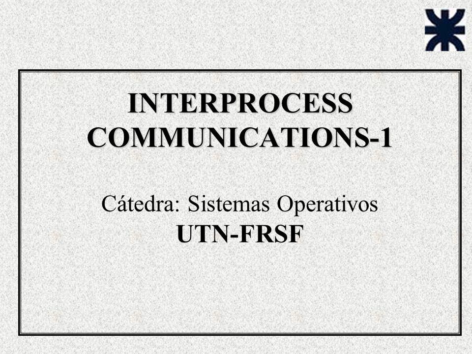 INTERPROCESS COMMUNICATIONS-1 INTERPROCESS COMMUNICATIONS-1 Cátedra: Sistemas Operativos UTN-FRSF