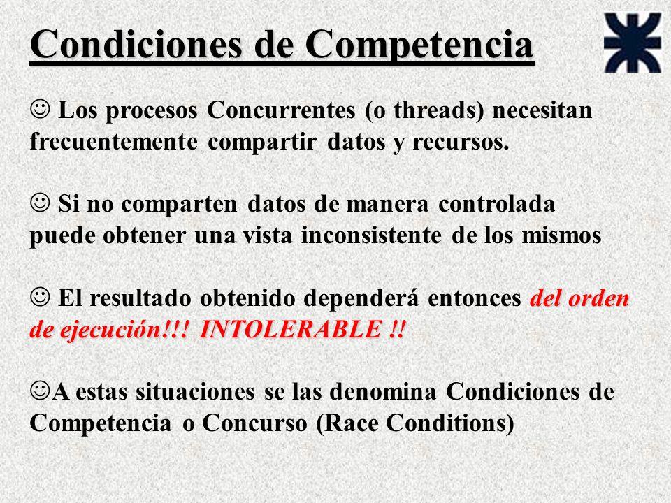 Condiciones de Competencia J Los procesos Concurrentes (o threads) necesitan frecuentemente compartir datos y recursos. J Si no comparten datos de man