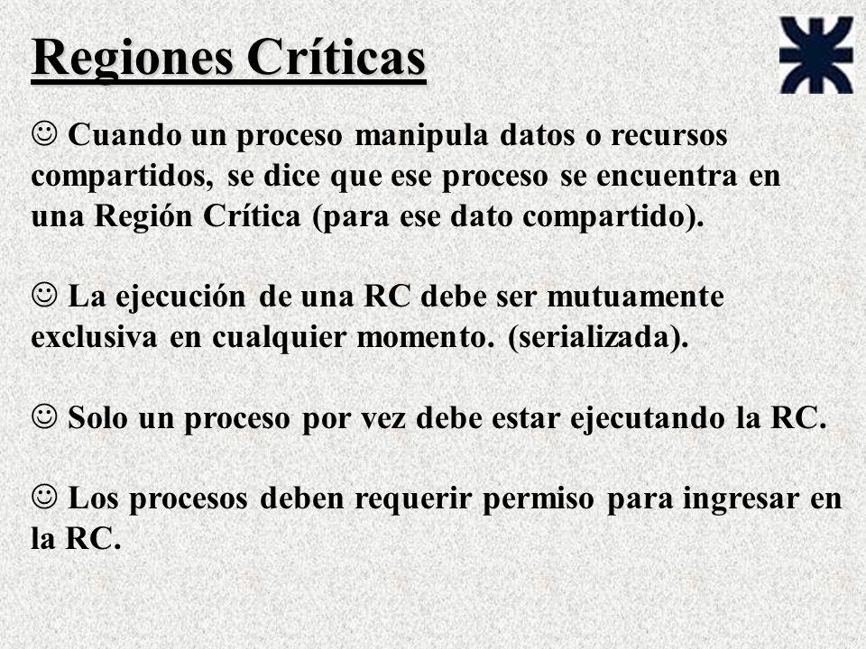Regiones Críticas J Cuando un proceso manipula datos o recursos compartidos, se dice que ese proceso se encuentra en una Región Crítica (para ese dato compartido).