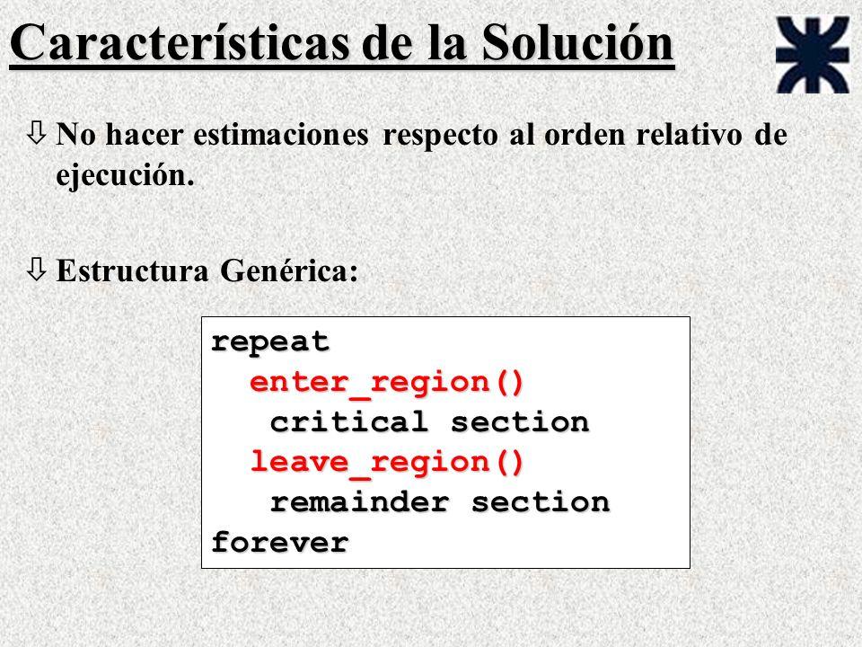 Características de la Solución òNo hacer estimaciones respecto al orden relativo de ejecución. òEstructura Genérica: repeat enter_region() enter_regio