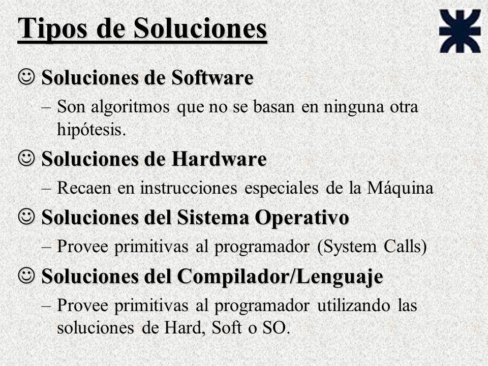 Tipos de Soluciones J Soluciones de Software –Son algoritmos que no se basan en ninguna otra hipótesis. J Soluciones de Hardware –Recaen en instruccio